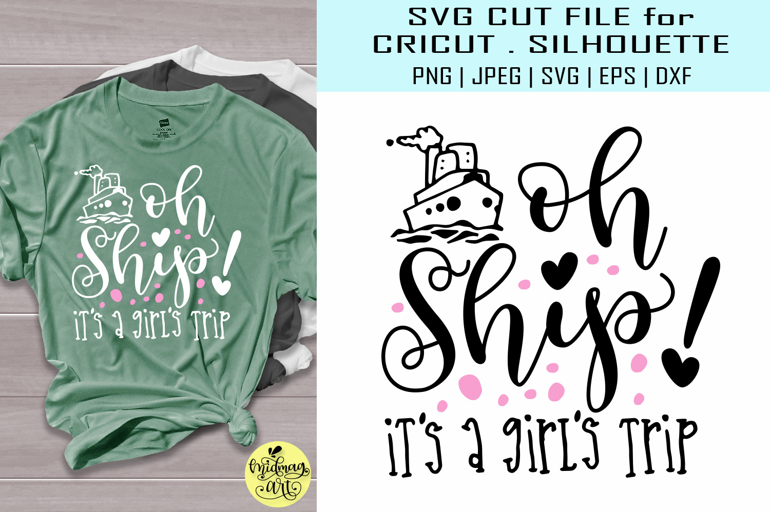 Download Free Oh Ship It S A Girls Trip Graphic By Midmagart Creative Fabrica for Cricut Explore, Silhouette and other cutting machines.