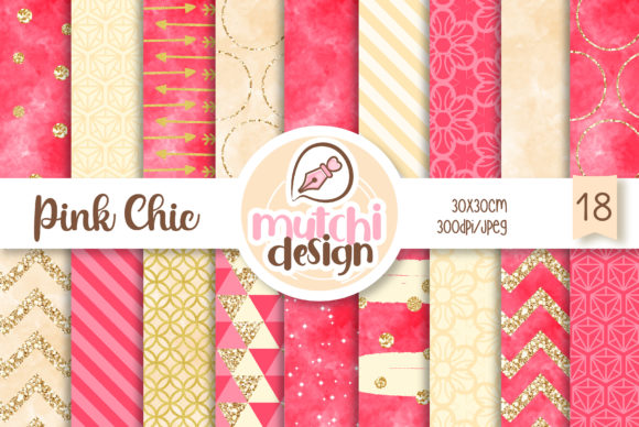 Print on Demand: Pink Chic Patterns Graphic Backgrounds By Mutchi Design