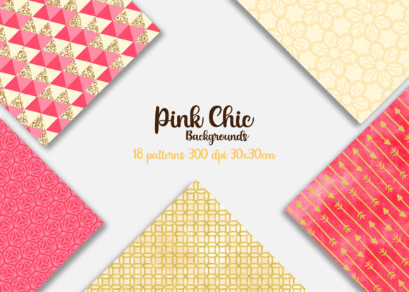 Print on Demand: Pink Chic Patterns Graphic Backgrounds By Mutchi Design - Image 2