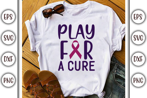 Print on Demand: Play for a Cure, Breast Cancer Design Graphic Print Templates By GraphicsBooth