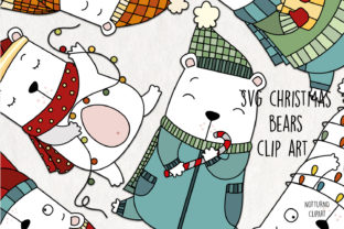 Print on Demand: Christmas Bear Clipart Graphic Crafts By NotturnoClipArt