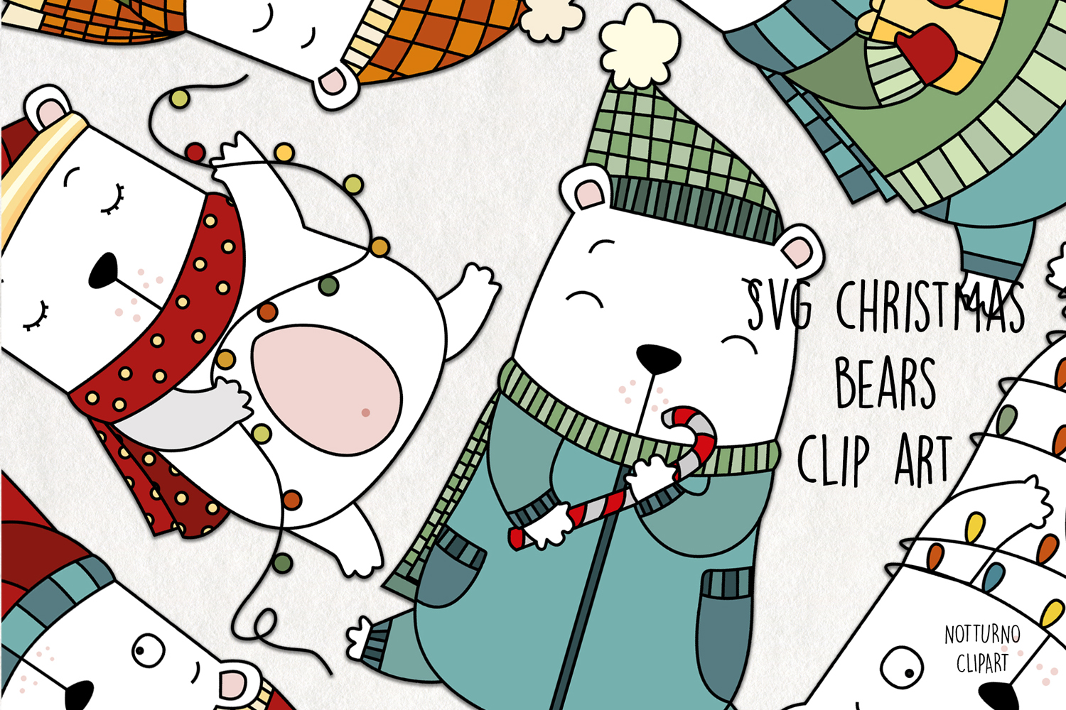 Download Free Christmas Bear Clipart Graphic By Notturnoclipart Creative Fabrica for Cricut Explore, Silhouette and other cutting machines.