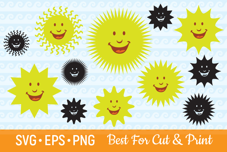 Download Free Smiling Sun Face Cartoon Vector Clipart Graphic By Olimpdesign for Cricut Explore, Silhouette and other cutting machines.