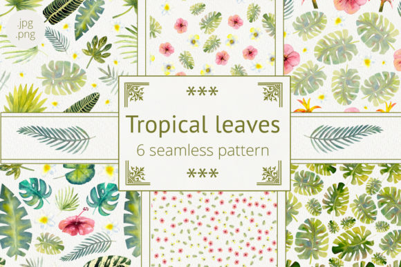 Print on Demand: Tropical Leaves Watercolor Graphic Patterns By Natika_art