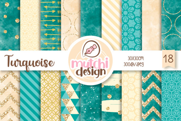Print on Demand: Turquiose Chic Patterns Grafik Hintegründe von Mutchi Design