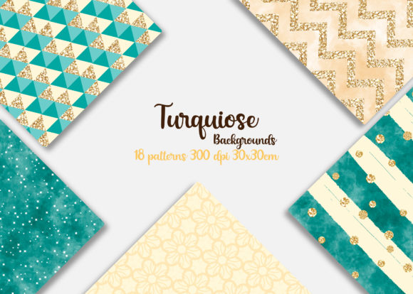 Print on Demand: Turquoise Chic Patterns Graphic Backgrounds By Mutchi Design - Image 2