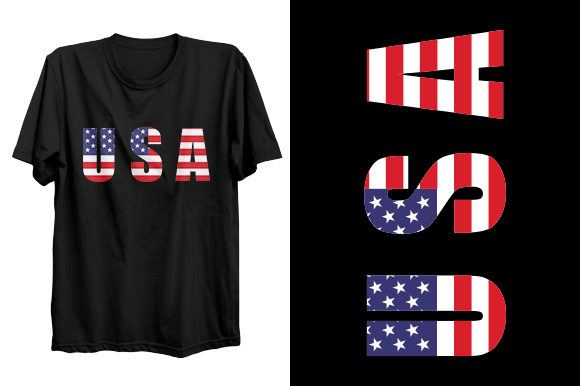 Print on Demand: USA Patriotism T-shirt Design Graphic Print Templates By t-shirt_ocean