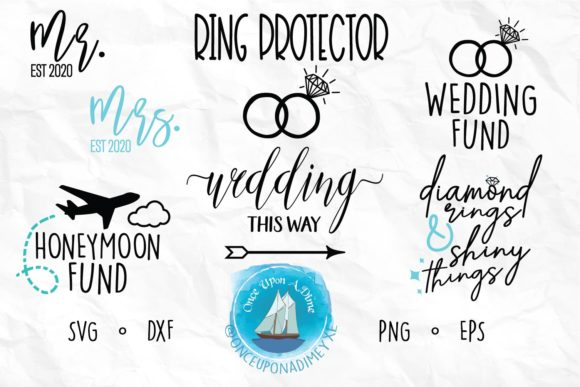 Download Free Wedding Bundle Graphic By Onceuponadimeyxe Creative Fabrica for Cricut Explore, Silhouette and other cutting machines.