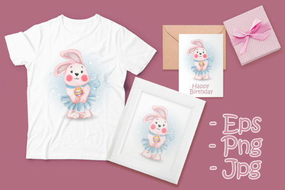 Print on Demand: Cute Bunny Ballerina with Easter Egg Graphic Illustrations By OrchidArt