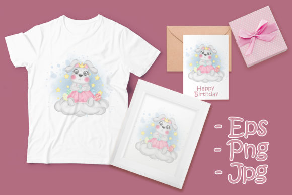 Print on Demand: Cute Bunny Holding Easter Egg Graphic Illustrations By OrchidArt