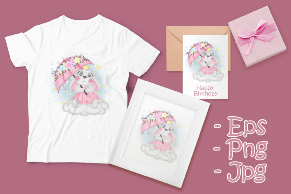 Print on Demand: Cute Bunny with Umbrella over the Sky Graphic Illustrations By OrchidArt