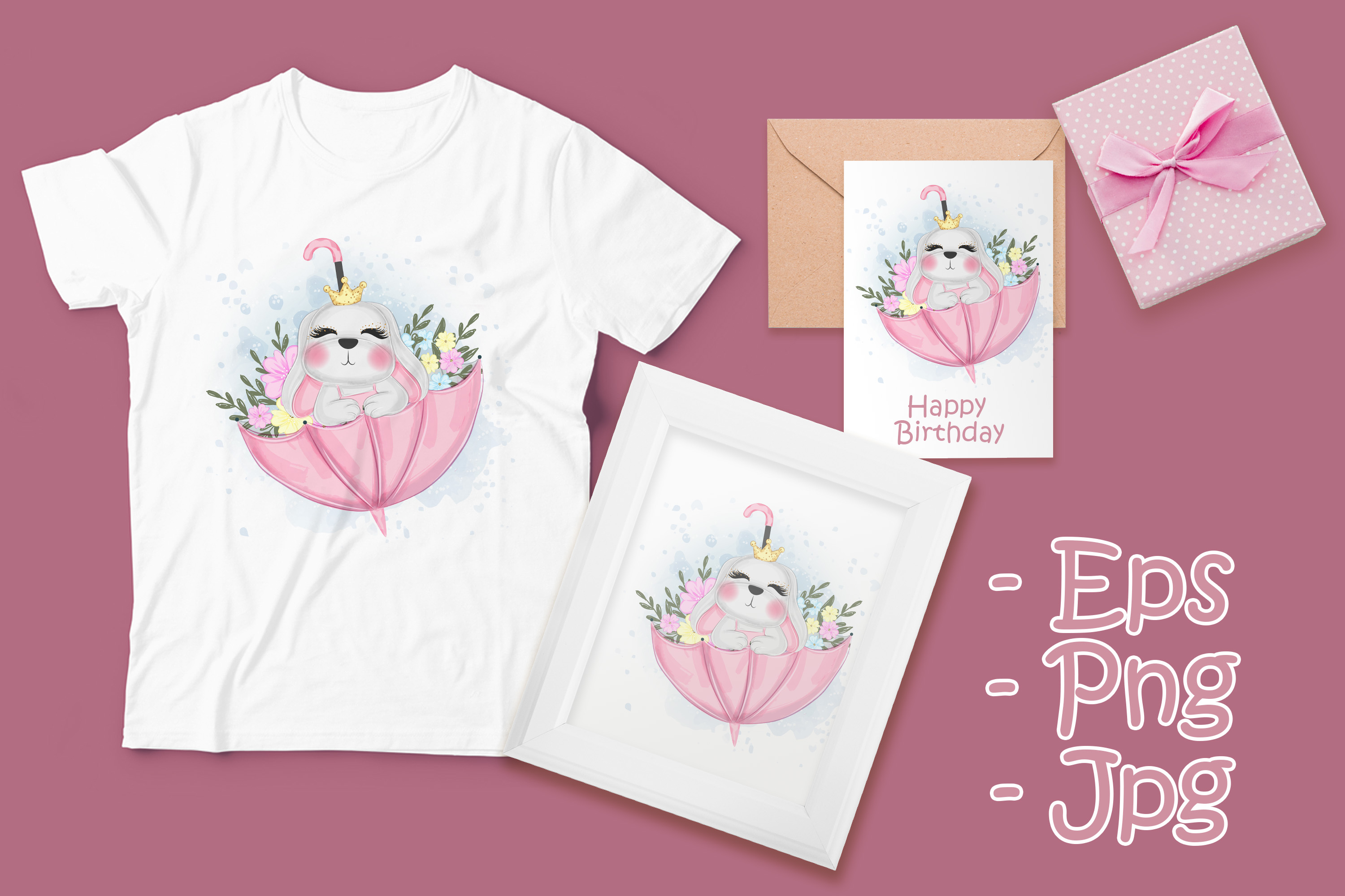 Download Free Cute Easter Bunny On Umbrella Nursery Graphic By Orchidart for Cricut Explore, Silhouette and other cutting machines.