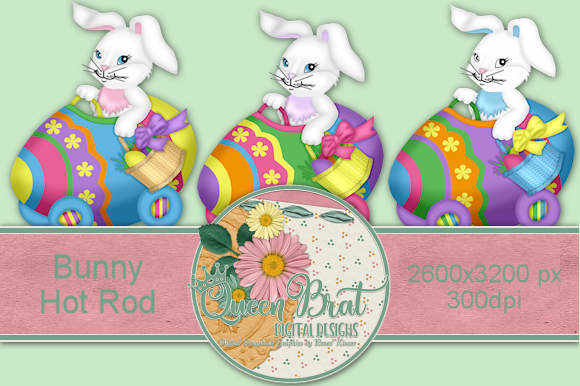 Download Free Bunny Hot Rod Graphic By Queenbrat Digital Designs Creative for Cricut Explore, Silhouette and other cutting machines.