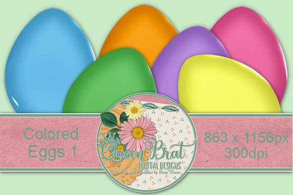 Download Free Colored Easter Eggs 1 Graphic By Queenbrat Digital Designs for Cricut Explore, Silhouette and other cutting machines.