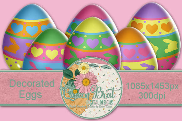 Print on Demand: Decorated  Easter Eggs Graphic Illustrations By QueenBrat Digital Designs - Image 1