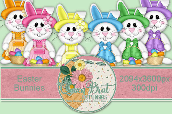 Download Free Easter Bunnies Graphic By Queenbrat Digital Designs Creative for Cricut Explore, Silhouette and other cutting machines.
