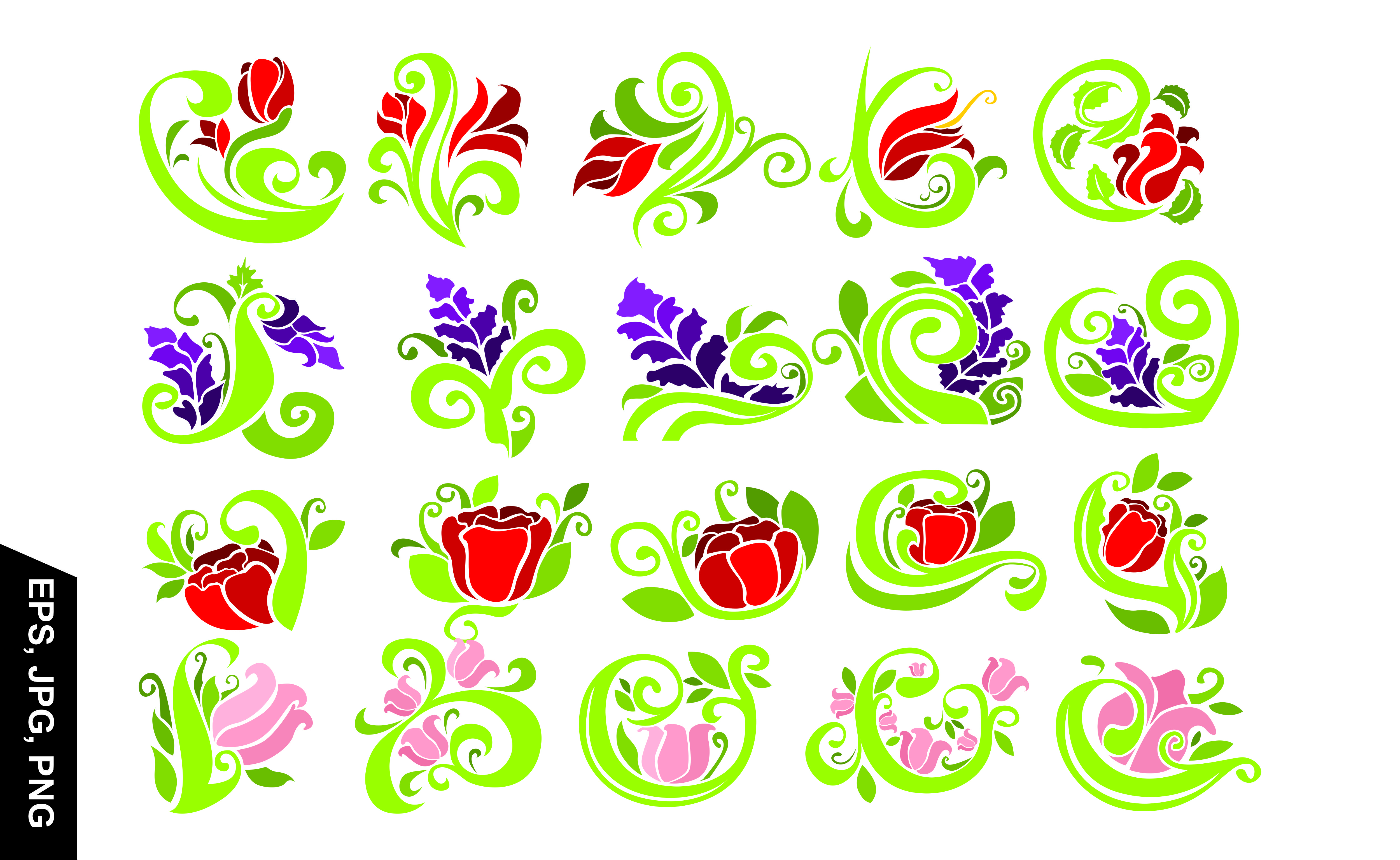 Download Free Floral Ornament With Flower Vector Set Graphic By Arief Sapta for Cricut Explore, Silhouette and other cutting machines.