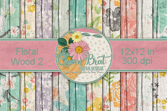 Print on Demand: Floral Wood 2 Graphic Backgrounds By QueenBrat Digital Designs - Image 1
