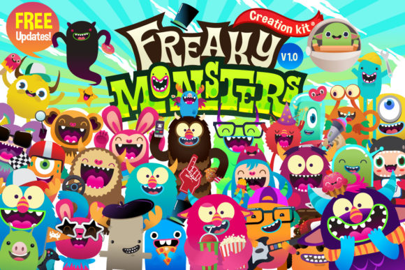 Print on Demand: Freaky Monster Creation Kit Graphic Illustrations By asaelvaras - Image 1