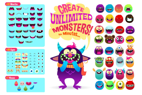 Print on Demand: Freaky Monster Creation Kit Graphic Illustrations By asaelvaras - Image 4
