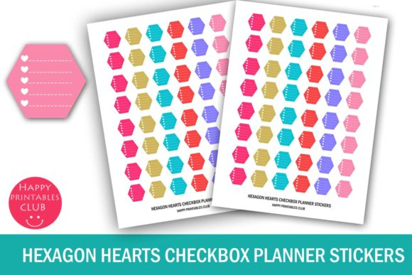Print on Demand: Hexagon Hearts Checkbox Planner Stickers Graphic Crafts By Happy Printables Club