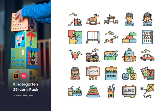 Kindergarten Icons Pack Graphic By Stringlabs Creative Fabrica