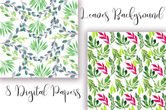 Leaves Watercolor Background Graphic Backgrounds By PinkPearly - Image 4