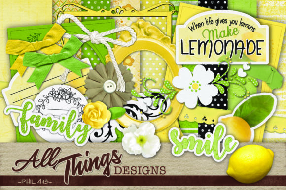 Download Free Lemon Digital Scrapbook Kit Graphic By All Things Designs for Cricut Explore, Silhouette and other cutting machines.