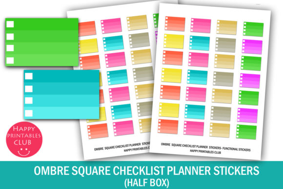 Print on Demand: Ombre Square Checklist Planner Stickers Graphic Crafts By Happy Printables Club