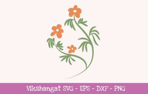 Download Free Orange Flowers Floral Graphic By Vikshangat Creative Fabrica for Cricut Explore, Silhouette and other cutting machines.