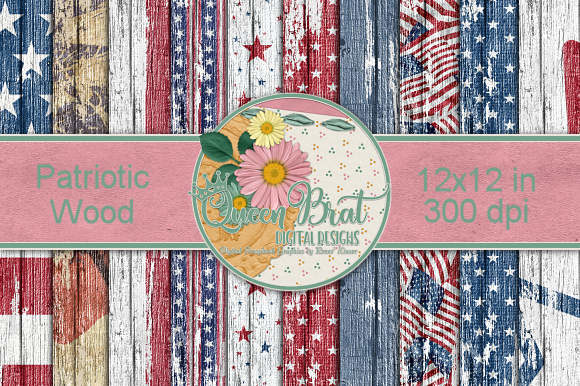 Print on Demand: Patriotic Wood Papers Grafik Hintegründe von QueenBrat Digital Designs