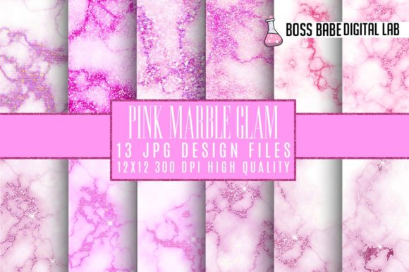 Print on Demand: Pink Glam Marble Digital Paper Graphic Textures By bossbabedigitallab