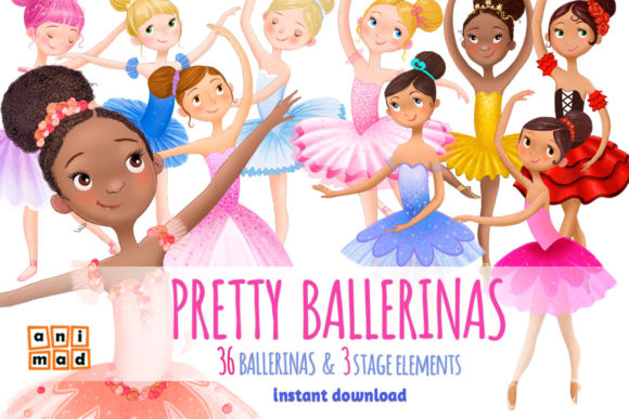 Pretty Ballerinas Graphic Illustrations By AnimadDesign