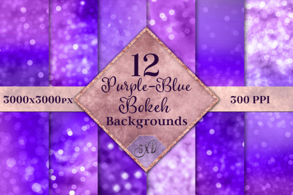 Print on Demand: Purple-Blue Bokeh Backgrounds Set Graphic Backgrounds By SapphireXDesigns - Image 1