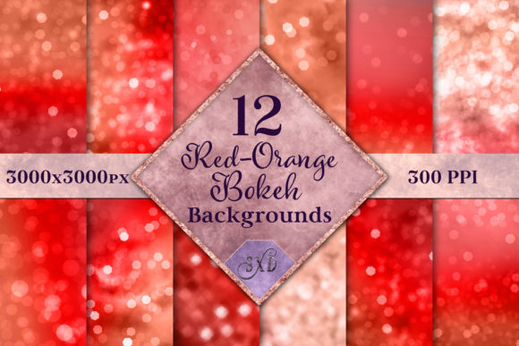 Print on Demand: Red-Orange Bokeh Backgrounds - 12 Images Graphic Backgrounds By SapphireXDesigns