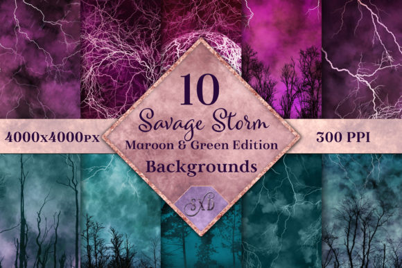 Print on Demand: Savage Storm Maroon Green Backgrounds Graphic Backgrounds By SapphireXDesigns - Image 1