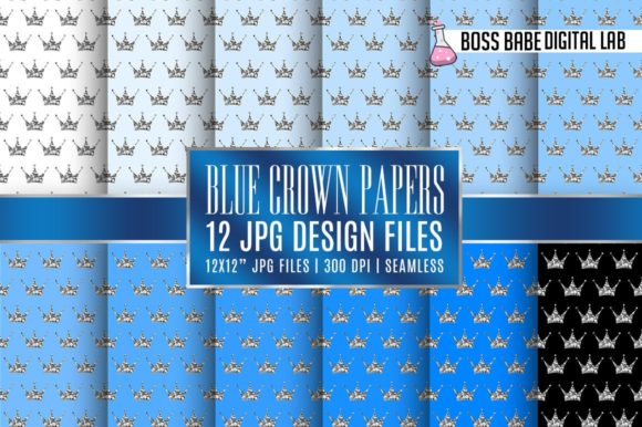 Print on Demand: Seamless Blue and Silver Crown Papers Graphic Patterns By bossbabedigitallab