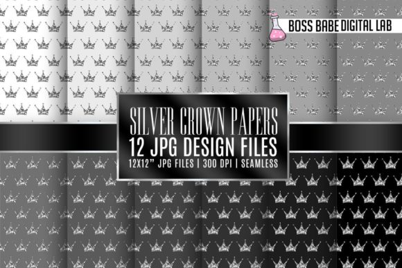 Print on Demand: Seamless Grey and Silver Crown Papers Graphic Patterns By bossbabedigitallab