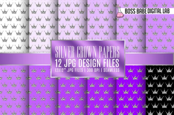 Print on Demand: Seamless Purple and Silver Crown Papers Graphic Patterns By bossbabedigitallab