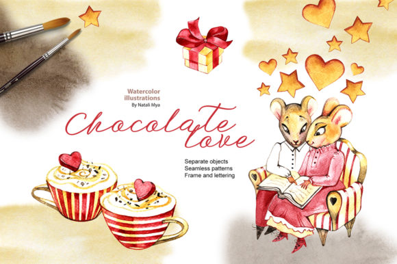 Watercolor Chocolate Love Cliparts Graphic Illustrations By NataliMyaStore