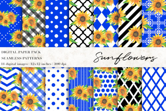 Watercolor Sunflowers Digital Papers Grafik Muster von BonaDesigns