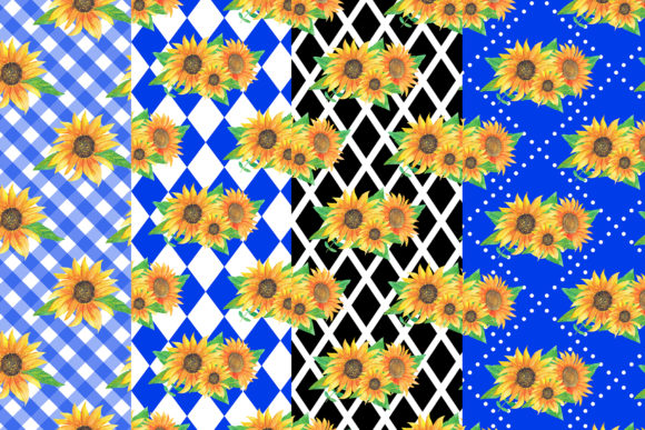 Watercolor Sunflowers Digital Papers Graphic Patterns By BonaDesigns - Image 2
