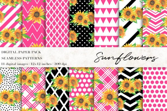 Download Free Watercolor Sunflowers Digital Papers Graphic By Bonadesigns SVG Cut Files