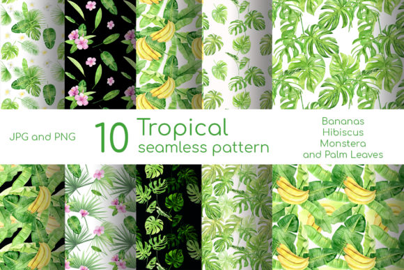 Download Free Watercolor Tropical Seamless Pattern Graphic By Natalia Arkusha for Cricut Explore, Silhouette and other cutting machines.