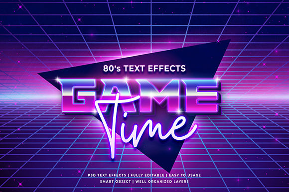 80's Retro 3d Text Effect Mockup Graphic Brushes By Syifa5610