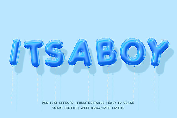 BLue Balloon 3d Text Effect Mockup Graphic Layer Styles By Syifa5610