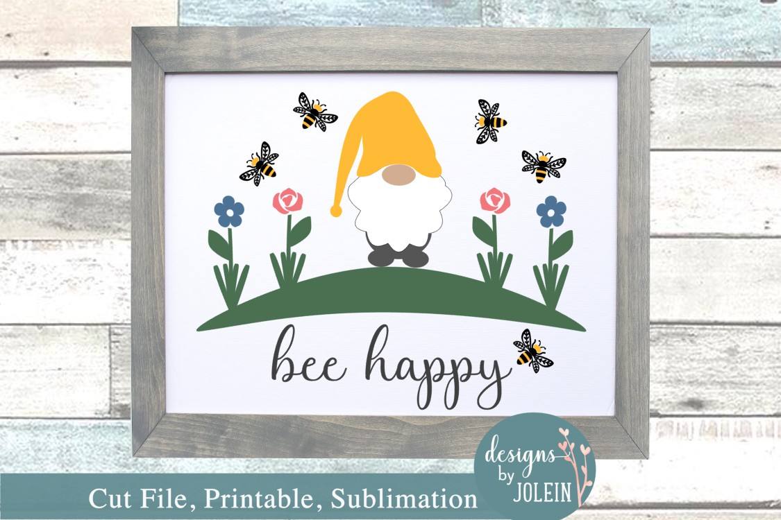 Download Free Bee Happy Gnome Graphic By Designs By Jolein Creative Fabrica for Cricut Explore, Silhouette and other cutting machines.
