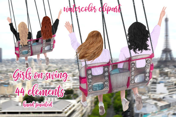 Best Friends Clipart, Girls on Swing Graphic Illustrations By LeCoqDesign