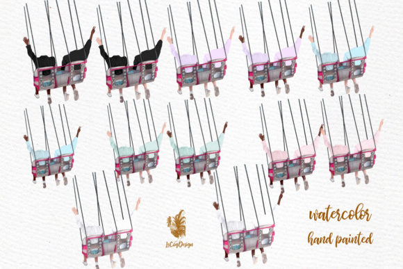 Best Friends Clipart, Girls on Swing Graphic Illustrations By LeCoqDesign - Image 2