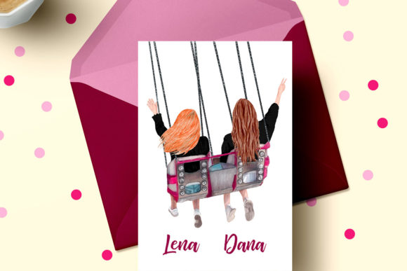 Best Friends Clipart, Girls on Swing Graphic Illustrations By LeCoqDesign - Image 5